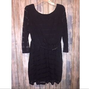 Lily Rose black dress with mesh/see through stripe